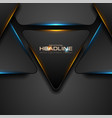 black triangles with blue orange light abstract vector image vector image