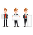business man with blond hair set vector image vector image