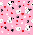 cartoon cats and dogs seamless pattern showing vector image