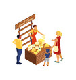 cheese market stall vector image