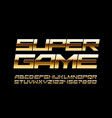 chic logo super game gold techno font vector image