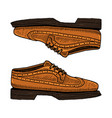 classic shoes or men accessory engraved hand vector image