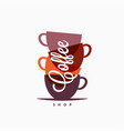 Coffee cup logo coffee mugs color banner on white