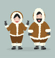 couple eskimo in flat design vector image vector image