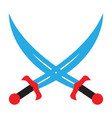 crossed swords pirate sabers icon edged weapons vector image