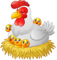 cute cartoon hen with chickens sitting in a nest vector image