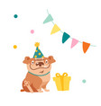 cute dog character celebrate birthday funny vector image vector image