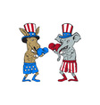 democrat donkey boxer and republican elephant vector image vector image
