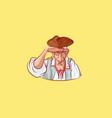 emoji sticker seaman captain eyeing into distance vector image vector image