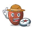 explorer mascot cartoon of moriche palm fruits vector image