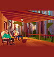 family relaxing on home veranda cartoon vector image