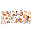 fast food delivery service set online order from vector image