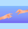 female and male hand drawn to each other romantic vector image vector image