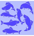 Fish Blue Silhouettes vector image