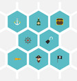 flat icons bottle ship steering wheel pirate and vector image vector image