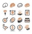foie gras icon set vector image vector image