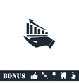 Growing graph holding by hand icon flat vector image vector image
