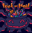 halloween trick or treat concept background hand vector image