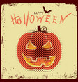 happy halloween with pumpkin and text on old vector image vector image