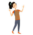 isolated cheerful asian girl smiling and laughing vector image