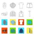 isolated object of man and clothing logo set of vector image vector image