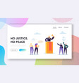 justice is peace landing page judge law vector image