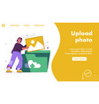landing page upload photo concept vector image