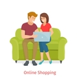 laughing couple browsing internet at the vector image vector image