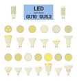 led light gu10 bulbs colorful icon set vector image vector image