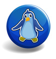 Little penguin on blue badge vector image vector image
