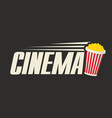 logo for cinema with a popcorn bucket vector image