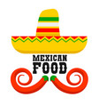mexican food sombrero and chili peppers mexican vector image