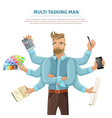 Multitasking Man Flat Poster vector image