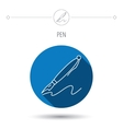 Pen icon Writing tool sign vector image vector image