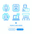 people and users thin line icons vector image vector image