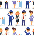 pilots and stewardess airline vector image vector image