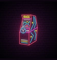 race arcade game machine neon sign advertising vector image vector image