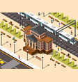 railway station building composition vector image vector image
