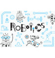 robotics for kids banner or card robots and vector image vector image
