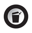 round black white button - trashcan arrow icon vector image