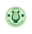 saint patricks day circle label with harp vector image vector image