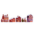 set christmas street decorated houses in snow vector image