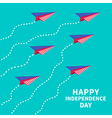 Six paper planes with dash line Happy independence vector image