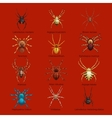 Spiders cartoon set dangerous insects collection vector image