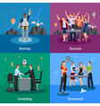 Startup 4 Flat Icons Square Poster vector image vector image