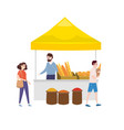 street food bakery market talls canopy and baked vector image vector image