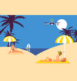 summer vacation leisure people fly drone on beach vector image