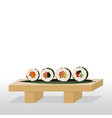 sushi stand with rolls vector image