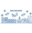 usa california fort worth winter city skyline vector image vector image