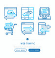 web traffic thin line icons set vector image vector image